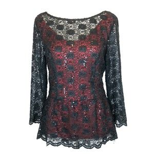 Blu Sage Tops - Blu Sage black lace red peplum top